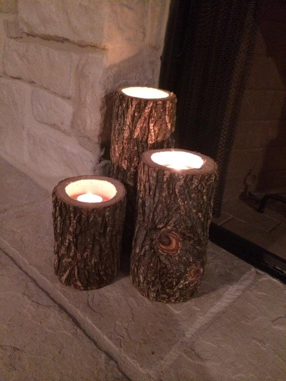 Log candle holders by kellyssouthernjunk on etsy for Log candle holder how to make