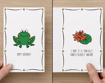 Frog Card - Funny Punny Birthday Cards (Animal Series) by Solivagants Stationery