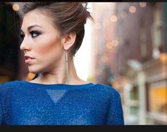 Slouchy V neck sparkle sweater