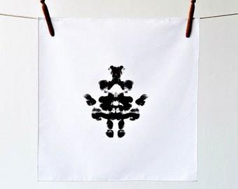Dinner napkins, OOAK cloth napkins, hand-printed napkins, black and white table decor, Rorschach Inkblot napkins, dinner party ideas