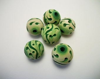 6 wood beads, round, color green, Wood round beads