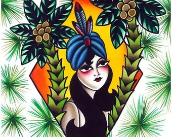 Palm Lady Giclee Art Print