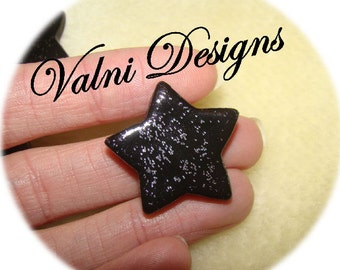 5 Stars Cabochons in Cold Porcelain, Size 27mm (COLOR BLACK with GLITTERS) Handmade
