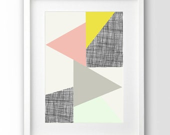 Geometric  Wall Art, Triangle Print, Pastel Art, Pink and Mint, Gray and Yellow, Handdrawn, Downloadable Art, Abstract Wall Art