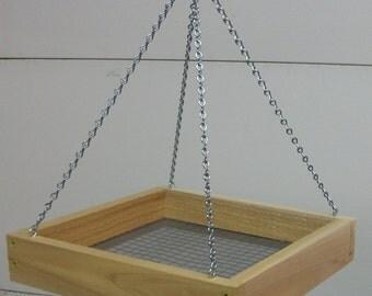 Hanging Cedar Birdfeeder Platform Tray 11 x 11 Handcrafted Bird Feeder