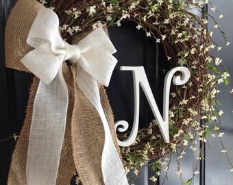 White Floral Monogram Grapevine Wreath. Spring Wreath. Summer Wreath. Wedding. Mother's Day. Monogram Wreath. Year Round Wreath
