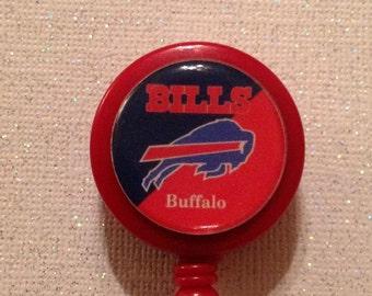 Nfl Buffalo Bills Badge Id Reel with Alligator Clip - New