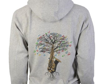 Saxophone Hoody Musical Tree in sizes up to XXL