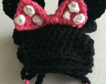 Minnie Mouse Dog Hat, Crochet, Dog Clothes, Designer Winter Hat, Pet Accessories