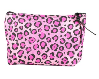 """7"""" Pink Cheetah fabric cosmetic bag/pouch"""