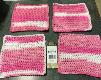 Washcloths or Dishcloths Pink and White Stripes Handmade Crochet Qty of 4