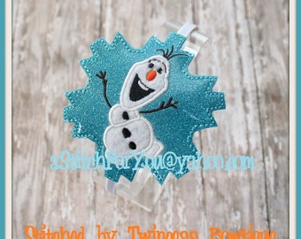 SNoWMaN Ice Queen HB Slider Hair Pretty Accessory ~ In The Hoop Headband ~ Downloadable DiGiTaL Machine Embroidery Design by Carrie