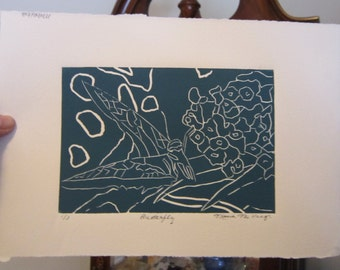Butterfly Original Limited Edition Linocut Blue Green (teal)