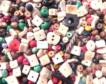 Supplies -bone beads-Assorted supper delux handmade bone beads mix ONE POUND.