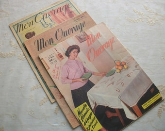 set x 3 1948 &1955 French Magazine MON OUVRAGE Knitted Embroidery Crochet Fashion Home 'C'