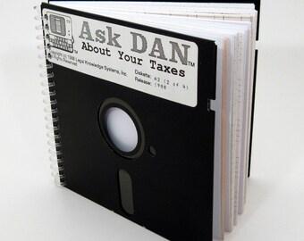 1980s Floppy Disk Journal - Large Floppy Journal - Nerd Gift - Accountant Gift - Spiral Notebook - Spiral Journal