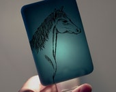 Horse Nightlight on Dark Blue Fused Glass Night Light - Gift for Baby Shower - Equine Farm Animal Kids Nightlight