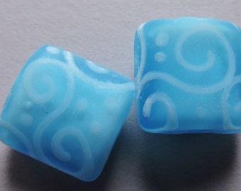Handmade Glass Blue Green Lampwork Beads Ericabeads Glowy Turquoise Nuggets (2)
