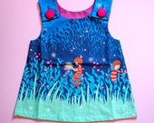 Little Girl Pinafore Dress - The Ethel Dress (Blue Fireflies)
