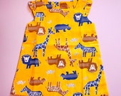 Little Girl Pinafore Dress - The Anna Dress (Sunny Jungle Friends)
