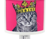Tabby Cats Rule Night Light kitty in crown Cute Nursery Bathroom hallway Bedroom GET IT nightlight Nite Lite