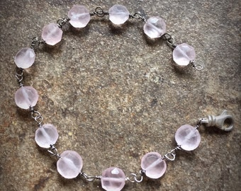 Rose quartz faceted bead and sterling bracelet in you size