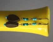 Teardrop and Turquoise long earthy wooden bead earrings
