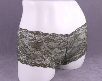 Green and Silver Lace Boyshorts - Large (LB13-L)