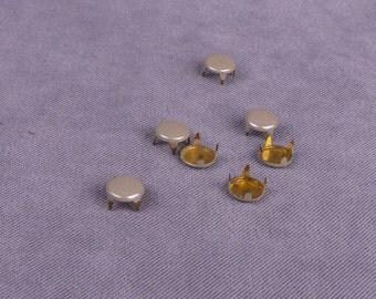 Grey Enamel Metal Round Studs - 6mm - 250 Pieces (MS6GYR-250)