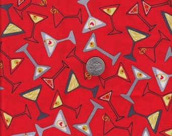Fat quarter - Tossed Martini in Red - Maria Kalinowski - Shaken or Stirred - Kanvas for Benartex cotton quilt fabric