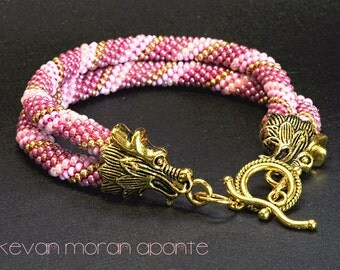 Golden dragons pink double seed bead rope