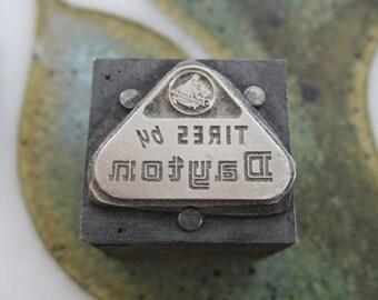 Vintage Letterpress Printers Block Tires by Dayton Logo