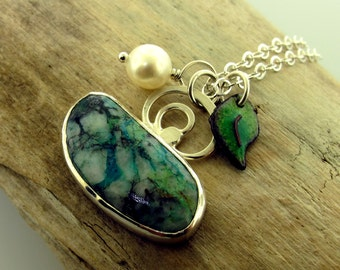 Gemstone Swirl Necklace, chrysocolla with enameled leaf and a pearl by Kathryn Riechert