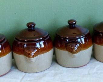 Brownware Mini Mousse Pots! Bean Crock Pots-Vintage-Set of 4- Lion Head Handles Potpourri Press Brand Pottery Recipes Included