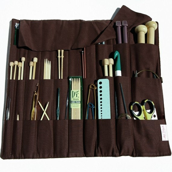 Knitting Notions Organizer : Knitting needle case beatrice brown pockets for