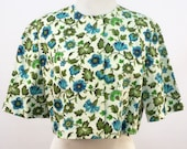 Vintage Cropped Jacket Bolero - Floral Print Greens & Blues Turquoise Aqua Olive Flowers Leaves Short Sleeves Open No Closures Medium Large