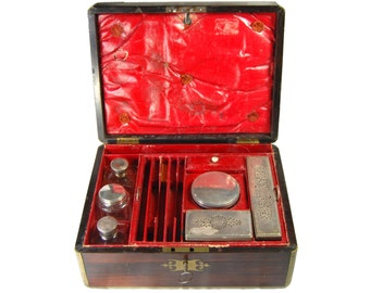 Antique Victorian Fitted Vanity Work Box w/ Key Grooming Sewing Set Crystal Jars Sterling Silver Lids Secret Compartments Red Leather 1870