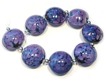 Small Purple Rose Lentils, Handmade Glass Beads,  Lampwork  Beads, Lampwork Lentils