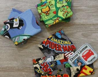 Children's Wallet Boy's Wallet Boys Bifold Novelty Wallet Avengers, Turtles, Cars, Baseball, Tools, Skulls, Rockets, Dinosaurs