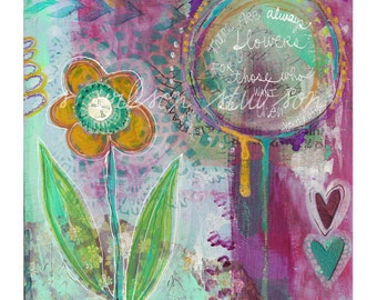 buttercup, flower, inspire, quote, mixed media, art, painting, heart, purple, teal, art quote, boho, bohemian art, inspirational art, wall