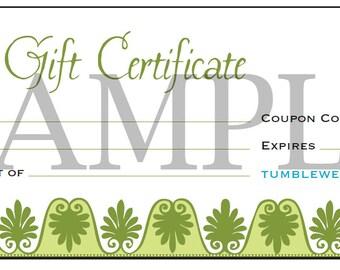 Tumbleweed Gift Certificate for Handmade Jewelry