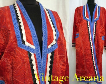 Vintage 1970's Uzbek Embroidered Red Satin Kaftan Coat