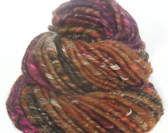 Handspun Art Yarn corespun handcarded sparkly Merino wool soysilk viscose baby alpaca sparkle