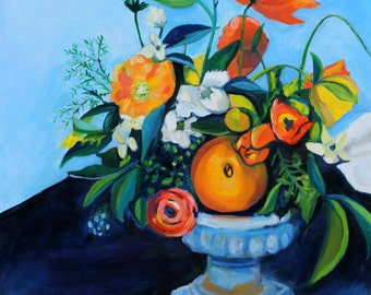 Painting with poppies and oranges - 8x10  - ART PRINT - modern still life painting