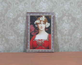 Dollhouse Miniature Framed Lady in Red Portrait Art Print