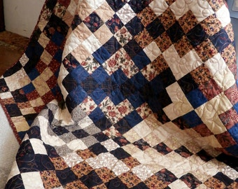 Quilted Wall Hanging or Lap Quilt Blanket ready to ship in Fall colors great for Primitive Country Decor