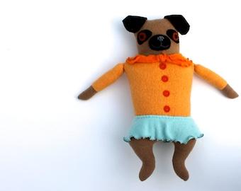 Soft Pastel Pug Girl wool doll plush softie art