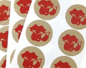 Red Fox Kraft Stickers (1.67 inch, 24 labels, 1 color)