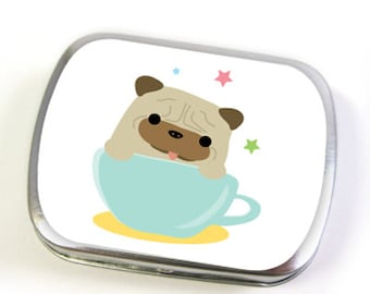Pug in Teacup Hinged Tin (small or large)