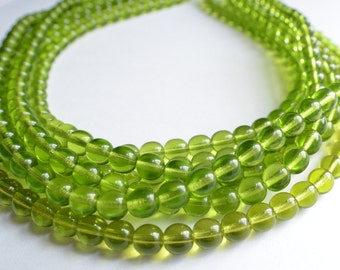 The Michelle- Olive Green Czech Glass Statement Necklace